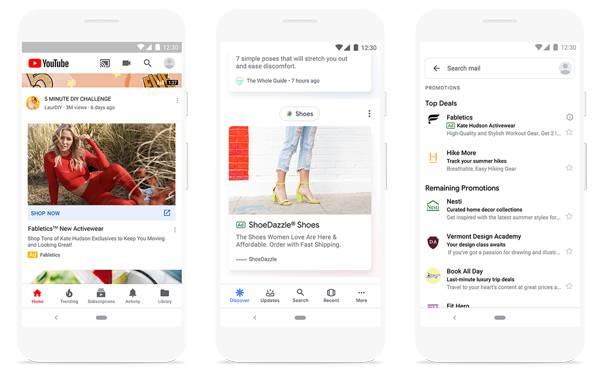 Beispielfoto von Google Discovery Ads bei YouTube, Discovery Feed und Gmail.