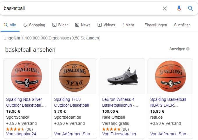 """Beispiel von Shopping Ads zum Keyword """"Basketball""""."""
